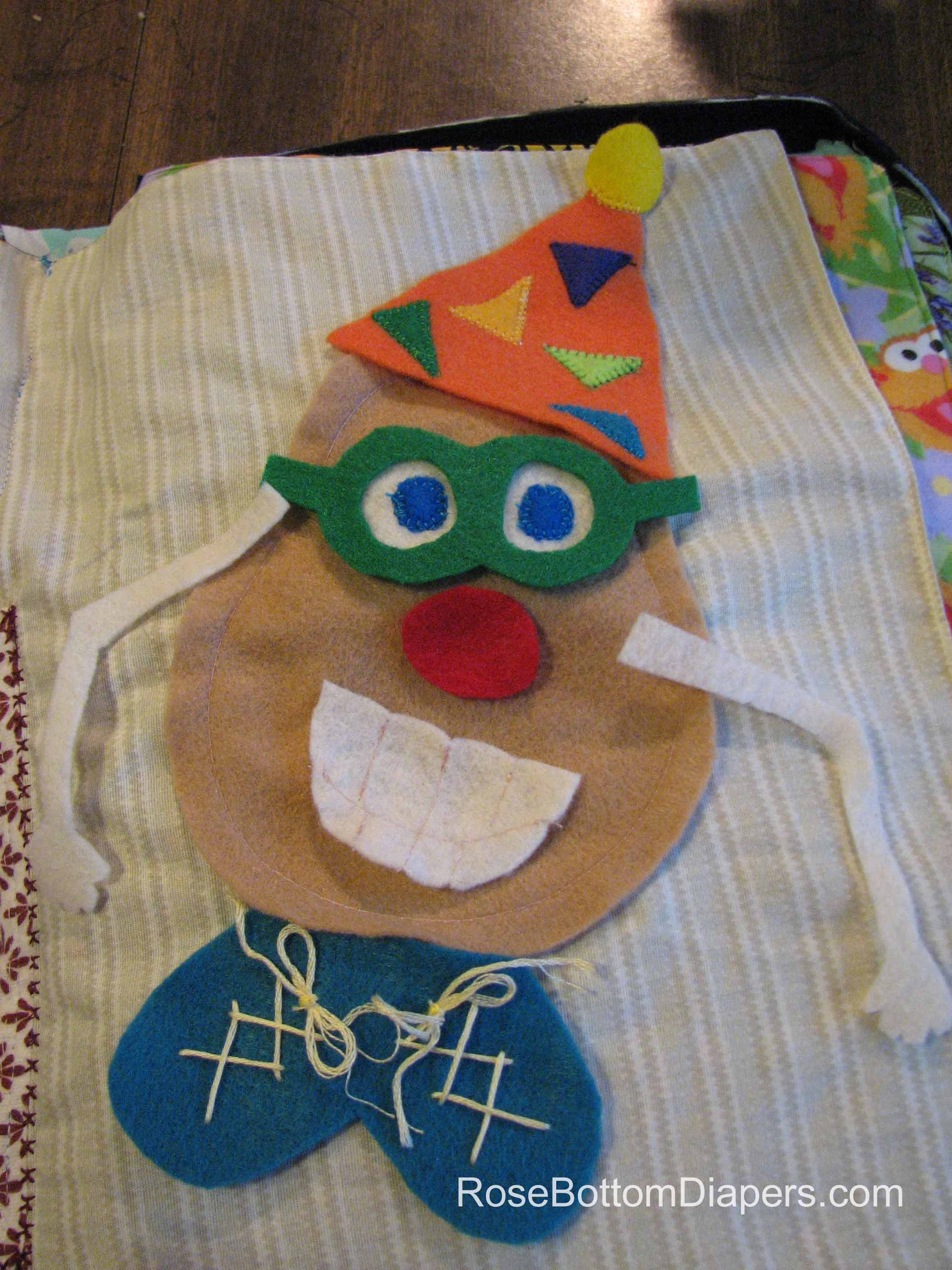 Mr. Potato Head quiet book page.  Fun learning for kids. Busy book ideas at RoseBottomDiapers.com