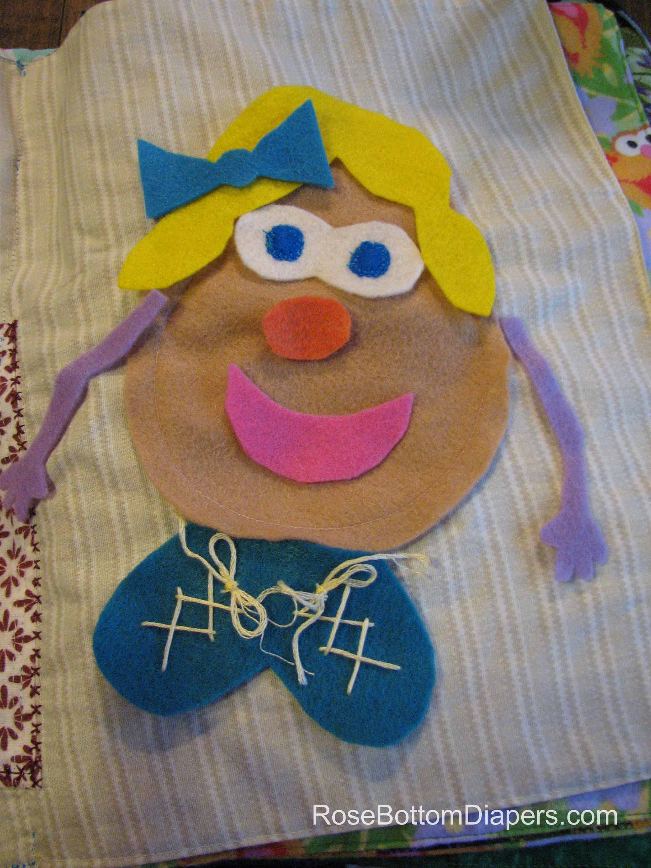 Mrs. Potato Head quiet book page.  Fun learning for kids. Busy book ideas at RoseBottomDiapers.com