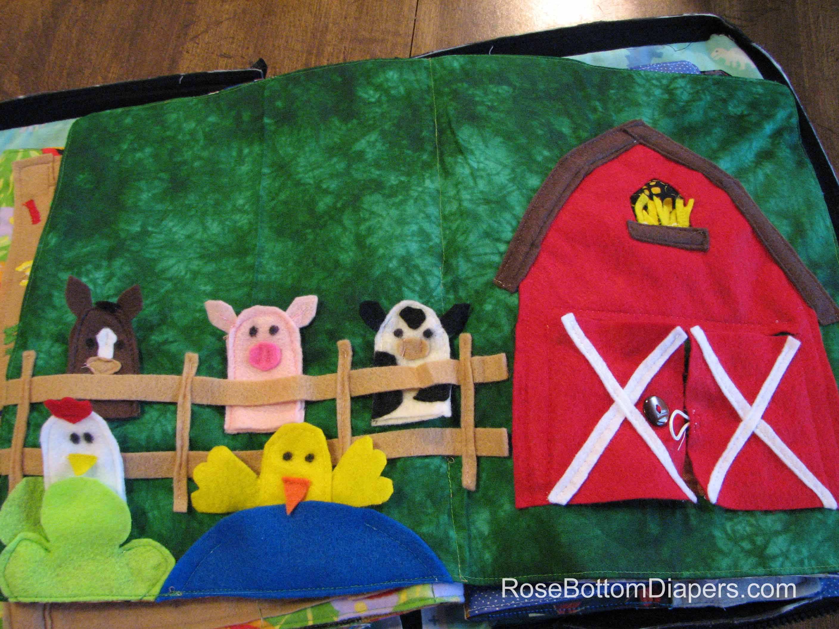 Farm Friends Finger Puppets quiet book page.   Busy book ideas at RoseBottomDiapers.com